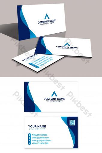 kartu bisnis biru perusahaan yang fasih Templat AI