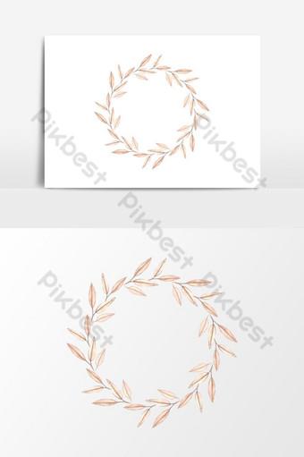 elemento gráfico de vector de diseño de corona de hoja redonda acuarela pintada a mano Elementos graficos Modelo PSD