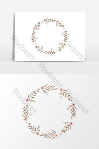 elemento gráfico de vector de guirnalda floral acuarela pintada a mano simple Elementos graficos Modelo PSD