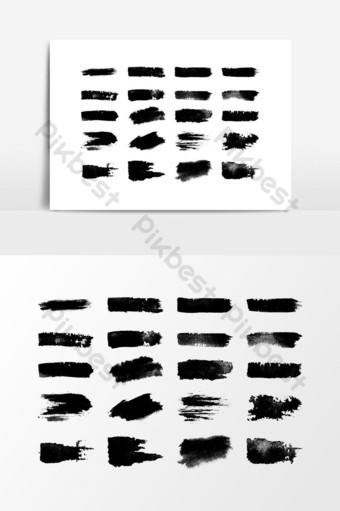 pintado a mano negro conjunto de trazos de pincel elemento gráfico vectorial Elementos graficos Modelo PSD