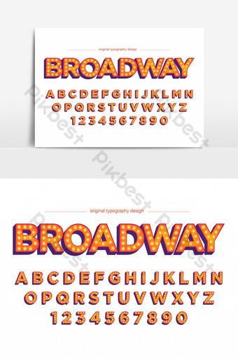 elemento gráfico de vector de fuente artística de estilo de luces de letra de broadway Elementos graficos Modelo EPS