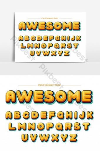 elemento gráfico de vector de fuente artística de burbuja amarilla de dibujos animados Elementos graficos Modelo EPS