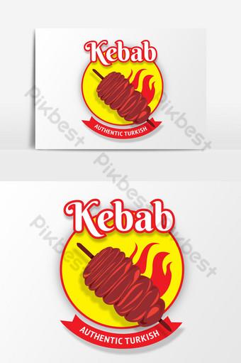 restaurante kebab logo vector elemento gráfico Elementos graficos Modelo PSD