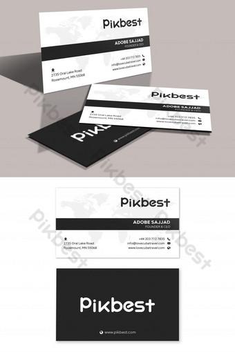 Carte de visite minimaliste propre noir et blanc Modèle PSD