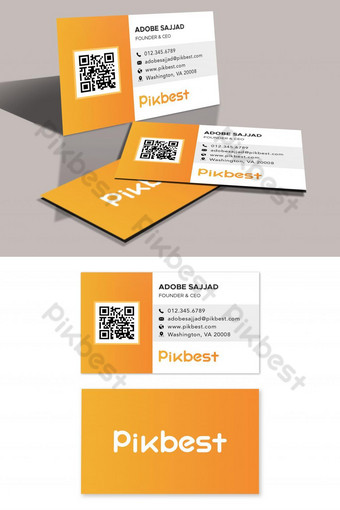 plantilla de tarjeta de visita de código qr corporativo naranja Modelo PSD
