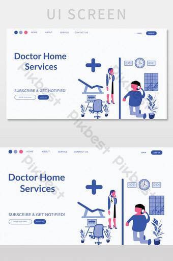 Doctor Home Service Landig Page UI Screen UI Template AI