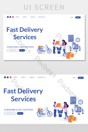 Delivery Service Landing Page UI Screen Template AI