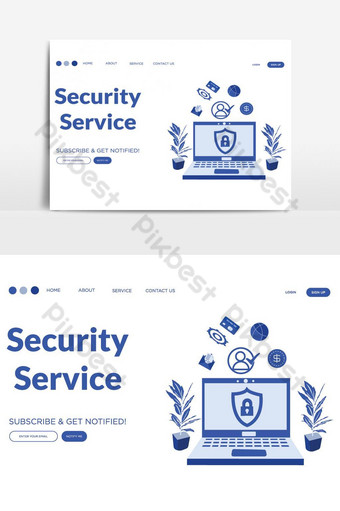 Security service vector landing page Vector Graphic Element PNG Images Template AI