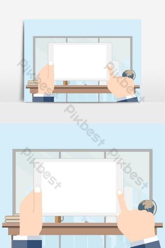 mano del empresario sosteniendo la tableta del banco en el elemento gráfico de vector de sala de oficina Elementos graficos Modelo EPS