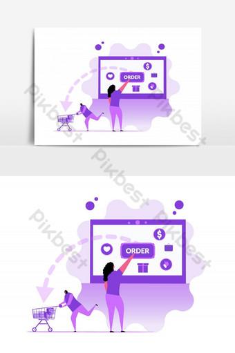elemento gráfico de vector púrpura de compras en línea Elementos graficos Modelo AI