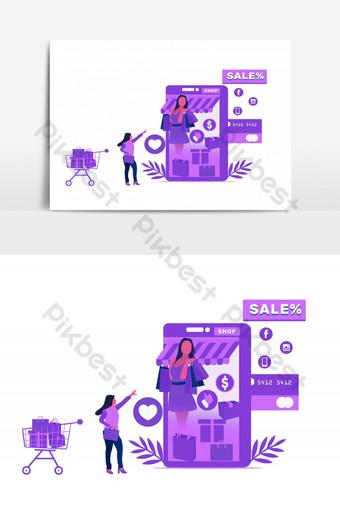 elemento gráfico de vector de interacción de compras en línea Elementos graficos Modelo AI