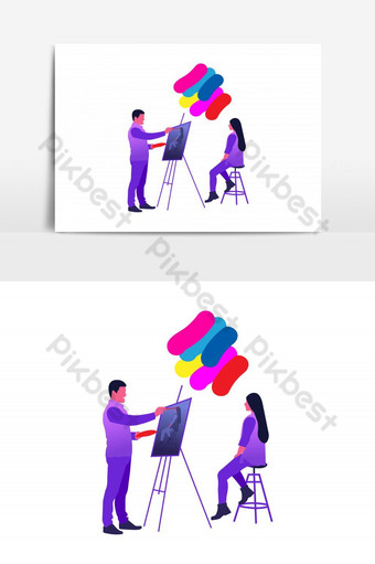 Painting Service Vector Graphic Element PNG Images Template AI