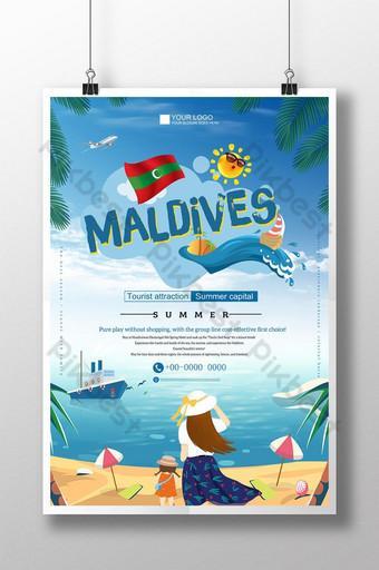 Cartoon fresh landscape sea sky travel poster Template PSD