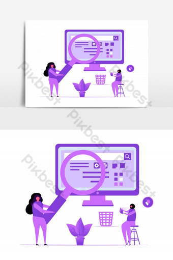 SEO Processing Vector Graphic Element PNG Images Template AI
