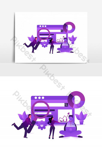 SEO Optimazation Purple Vector Graphic Element PNG Images Template AI