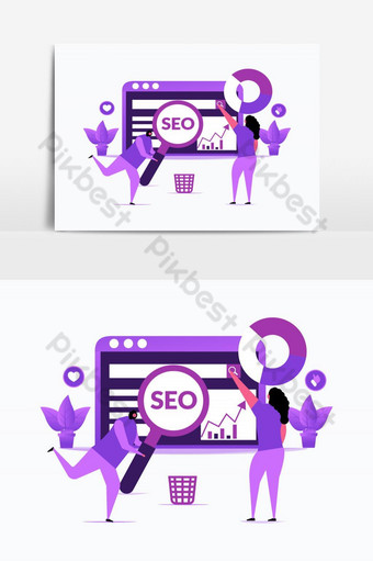 SEO Optimization Vector Graphic Element PNG Images Template AI