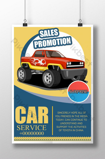 Yellow and blue simple car service promotion poster Template PSD