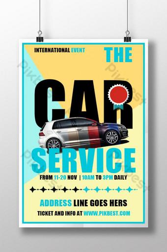 cartel de promoción de servicio de coche deportivo simple blanco Modelo PSD