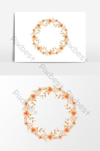 hermoso elemento gráfico de vector de guirnalda floral estilo acuarela naranja Elementos graficos Modelo PSD