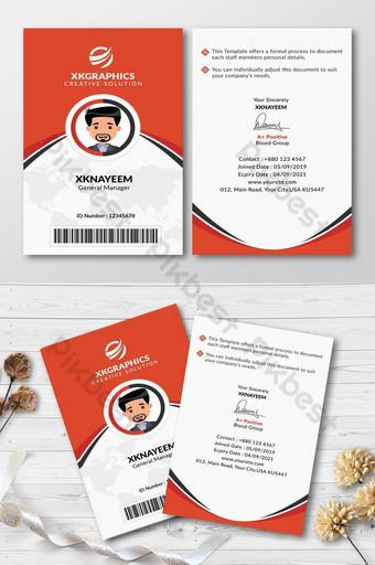 Carte d'invitation d'identité de bureau polyvalente Modèle PSD