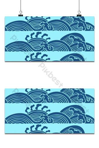 Fondo de patrón de onda de mar azul japonés clásico elegante Fondos Modelo PSD
