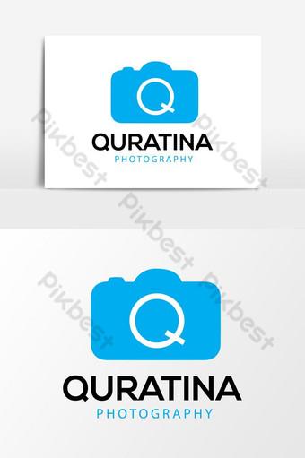 q letra y fotografía de cámara elemento gráfico de vector de logotipo mínimo Elementos graficos Modelo AI