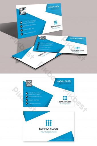 Carte de visite professionnelle élégante bleue Modèle PSD