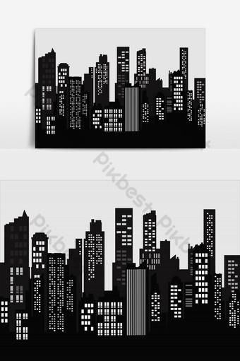 silueta ciudad paisaje moderno edificio arquitectura urbano paisaje urbano vector elemento gráfico Elementos graficos Modelo EPS