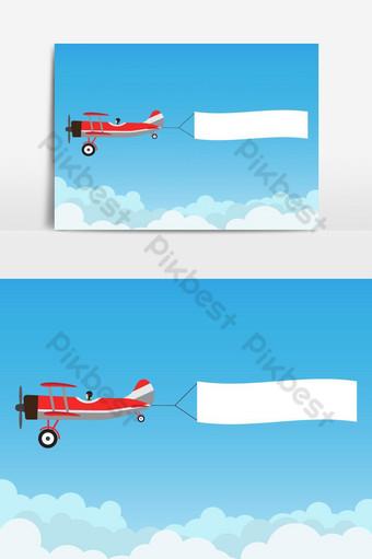 avión retro volando con banner publicitario en elemento gráfico de vector de cielo azul Elementos graficos Modelo AI