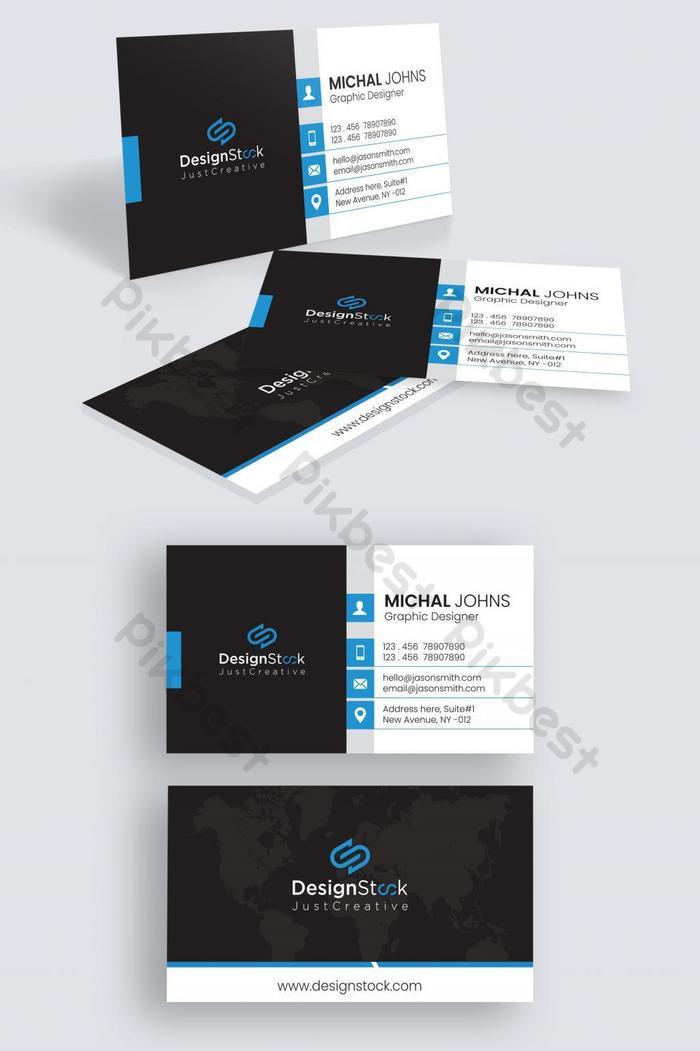 Синий современный корпоративный дизайн шаблона визитной карточки