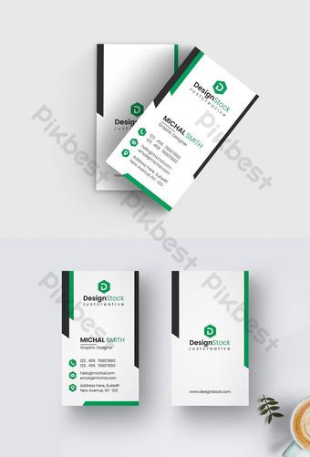 plantilla de tarjeta de visita vertical moderna creativa verde Modelo AI
