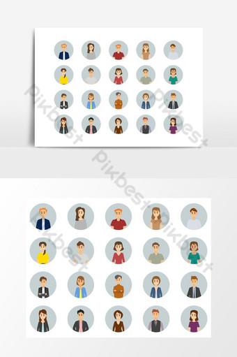 Conjunto de iconos de avatar de hombres y mujeres de negocios diversos de elemento gráfico de vector de personas trabajadoras Elementos graficos Modelo EPS