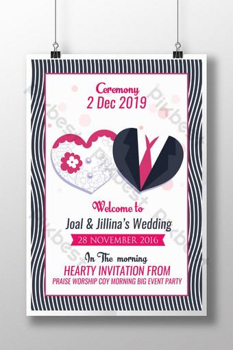 Affiche d'invitation de cérémonie de mariage Modèle PSD