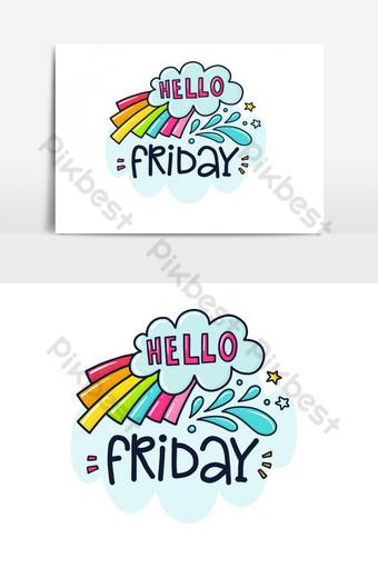 الجمعة أو بطاقة لون عطلة مع عنصر رسم متجه للاقتباس صور PNG قالب AI