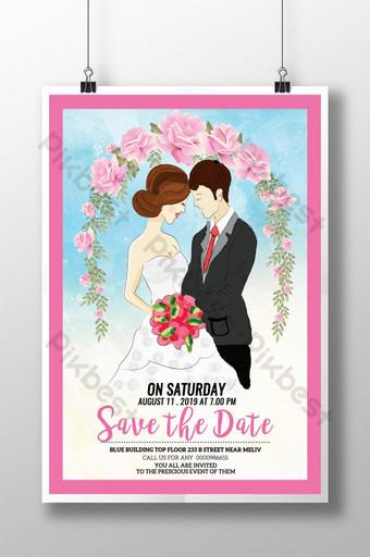 Réservez la date avec l'affiche de couple de mariage aquarelle Modèle PSD