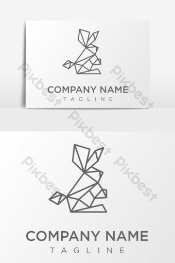 elemento gráfico de vector de logotipo de conejito de conejo geométrico Elementos graficos Modelo PSD