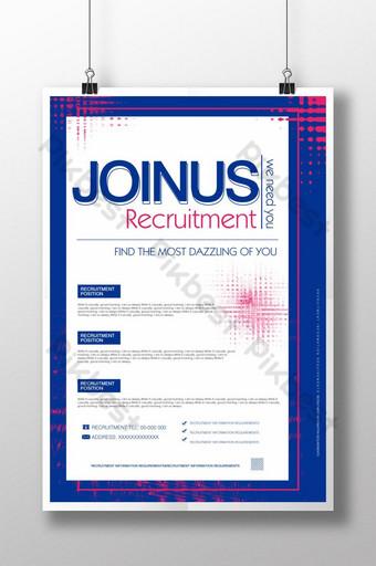 Conception d'affiche de flyer d'informations de recrutement bleu simple mode Modèle PSD
