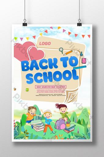 cartel de temporada escolar lindo de dibujos animados dibujados a mano Modelo PSD