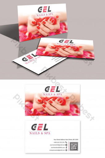 tarjeta de visita de uñas y spa Modelo PSD
