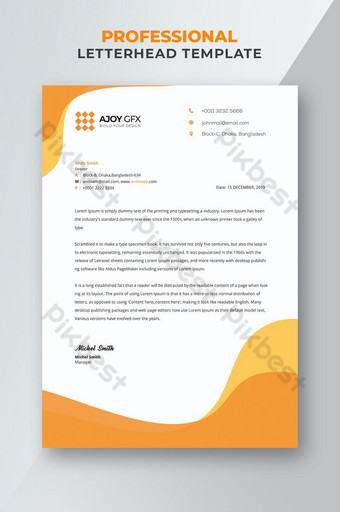 Papier à en-tête de style orange corporatif Modèle PSD