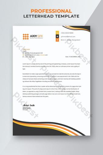 Papier à en-tête Business or et noir Modèle PSD