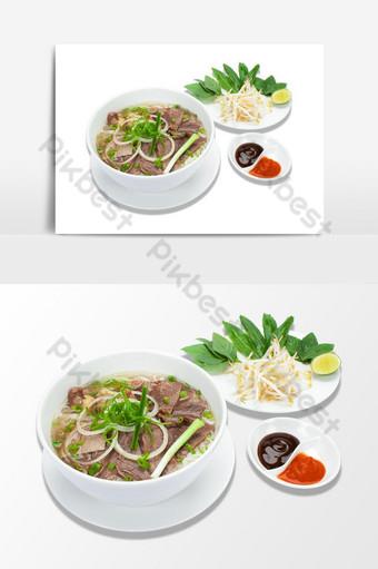 elemen vektor png makanan pho bo vietnam Elemen Grafis Templat PSD