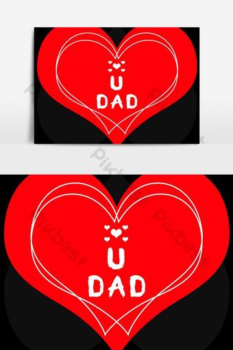 Bonne fête des pères je t'aime papa souhaite élément graphique vectoriel Éléments graphiques Modèle PSD