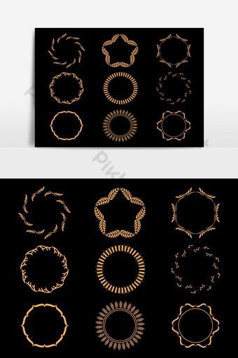 elemento gráfico de vector de marcos de estilo de círculo dorado dibujado a mano Elementos graficos Modelo PSD