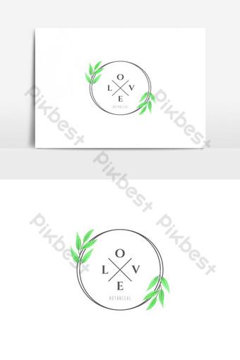 amor botánico logo vector elemento gráfico Elementos graficos Modelo AI