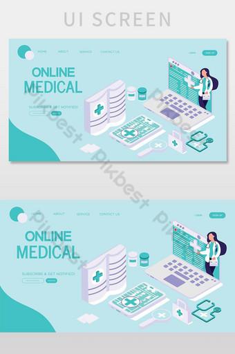 pantalla de interfaz de usuario de página de destino de vector médico en línea UI Modelo AI