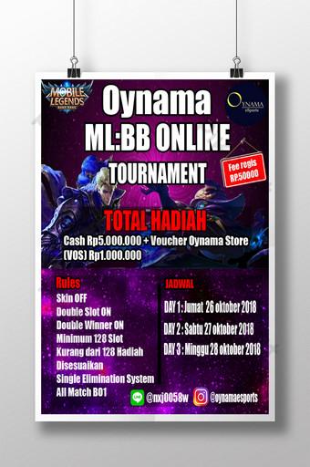 Affiche du tournoi Mobile Legend Modèle PSD
