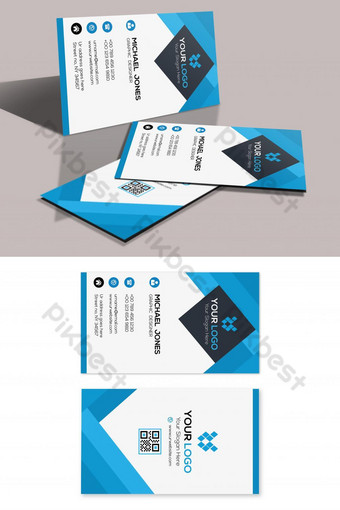 Carte de visite verticale bleue Modèle PSD
