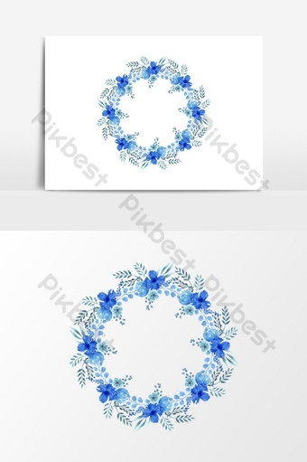 hermoso elemento gráfico de vector de guirnalda floral azul decoración de boda Elementos graficos Modelo PSD
