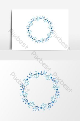 elemento gráfico de vector de guirnalda floral azul estilo redondo acuarela Elementos graficos Modelo PSD